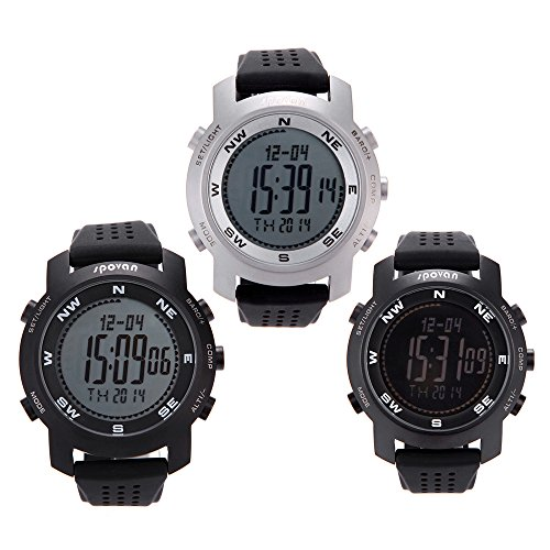 Anself Spovan BRAVO I Sportuhr Bergsteiger Armbanduhr Barometer Höhenmesser Thermometer Kompass Wettervorhersage Chronograph digitale Watch