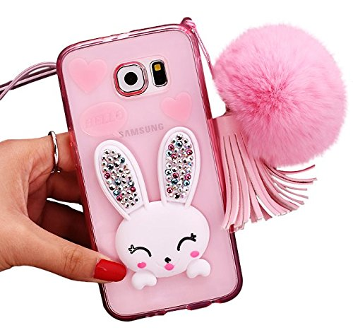 Just Mode(TM)Cute Rabbit with Blinging Diamond Ears/Tassel/Plush Ball Case Cover Shell Protection Samsung Galaxy S6 edge plus,Pink (Speck Samsung S4 Mini Case compare prices)