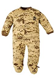 US Marine Corps Camo Baby Bulldog Sleeper (9-12 mo Desert Camo Crawler)