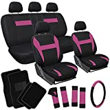 OxGord 21pc Black & Pink Flat Cloth Seat Cover and Carpet Floor Mat Set for the Nissan Sentra Coupe, Airbag Compatible, Split Bench, Steering Wheel Cover Included