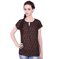TUNTUK Women's Juliet Top Brown Cotton Top