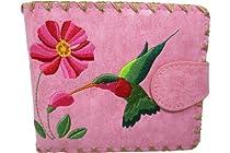 Lavishy Hummingbird and Flower Embroidered Vegan Leather Medium Wallet (Pink)