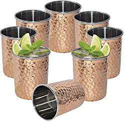 DakshCraft Hammered Copper Tumblers, Set of 8