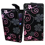 Accessory Master- pu Leather Flip Cover Case for Sony Xperia Z1 L39h C6903 - Purple Heart Flowers