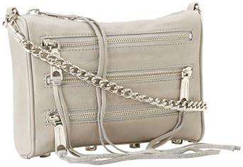 Rebecca Minkoff Mini 5-Zip Convertible Cross-Body Handbag,Soft Grey,One Size