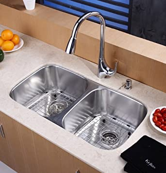 Kraus KHF203-36-KPF2150-SD20 Farmhouse Double Bowl Stainless Steel Sink with Faucet and Soap Dispenser