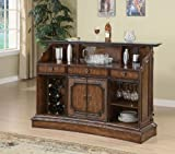 Bar Unit with Marble Top and Wine Rack in Brown Finish