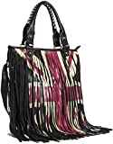 Big Handbag Shop Faux Leather UK Union Jack Fringe Cowgirl Tassel Shoulder Handbag