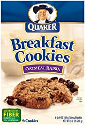 Quaker Breakfast Cookies, Oatmeal Raisin, 6 Cookies Per Box (Pack of 6)