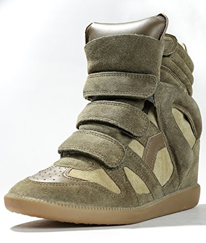 isabel-marant-womens-high-top-velcro-leather-sneakers-38-olive