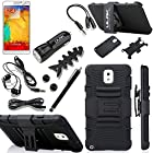 Note 3 Case, Galaxy Note 3 Case - ULAK Silicone Hard PC Dual Layer Holster Case with Kickstand and Locking Belt Swivel Clip Hybrid Full Protective Case for Samsung Galaxy Note 3 Note III N9000 with Stylus + Screen Protector + Accessories (Black)
