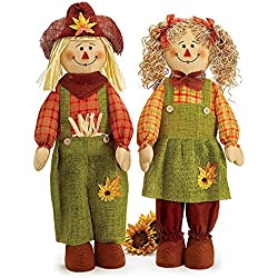 "Boy and Girl 32"" High Scarecrow with Plaid Outfits Autumn Decoration"