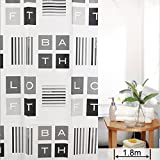 Harbor-Tower shower curtains, waterproof and mildew, Black and white squares 72x72(inches)