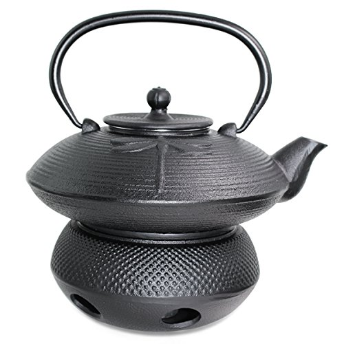 Japanese Antique 24 fl oz Black Dragonfly Cast Iron Teapot Tetsubin with Infuser Tea Set with Trivet + Teapot warmer 1