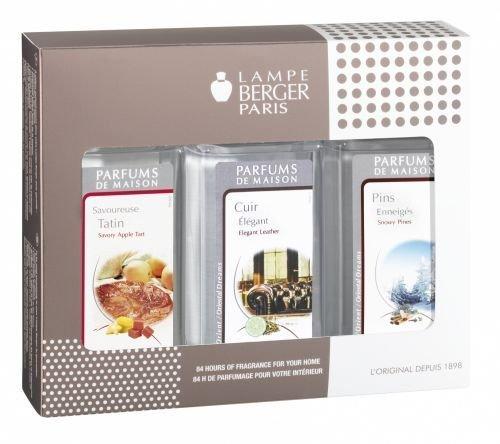 Lampe Berger 23882 Paquet de 3 Accueils Fragrances de Cuir élégant/ Savoureuse Tatin/Pins Enneigés Plastique Argent 5 x 8 x 18,5 cm