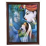 GATTS Beautiful Wall Decor Radhaa Krishna Classic Matt Glossy Shiny Wooden Frame Wall Painting(26.8x20.4x1 Inch)