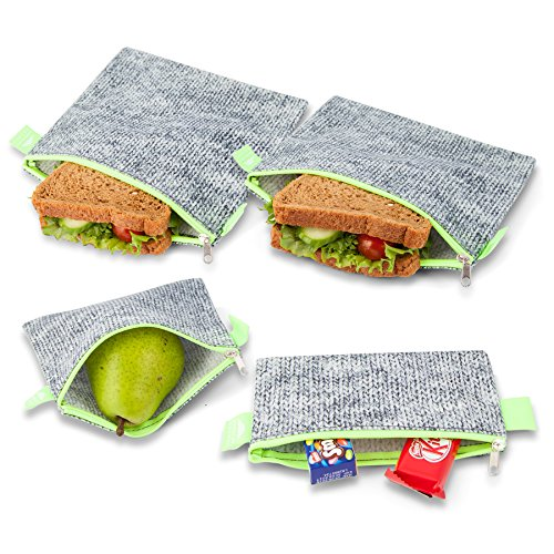 Nordic By Nature Premium Grey & Neon Green Sandwich & Snack bags | Designer Set of 4 Pack | Resealable, Reusable and Eco Friendly Dishwasher Safe Lunch Bags | Functional Easy Open Zipper | Great Value (Viking Double Oven Parts compare prices)