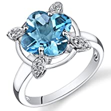 buy Peora 14K White Gold Lily Cut Swiss Blue Topaz Diamond Ring (3.83 Cttw)