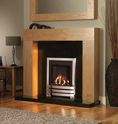 Best Price For Gas Fire Oak Surround Black Stone Hearth Silver