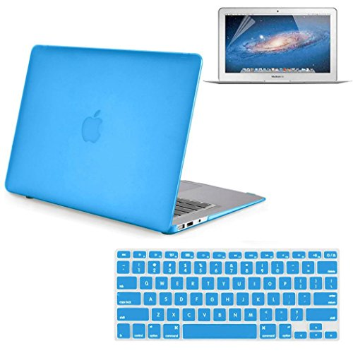 "Neway 3 in 1 bundle Matte Surface Crystal Rubberized Hard Shell Case cover protector for Apple Macbook Air 13.3"" (A1466 & A1369) (NEWEST VERSION)& Keyboard Cover & LCD HD Screen protector,13.3"" Air,Aq"