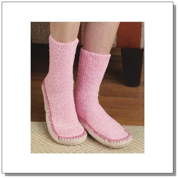 Comfortable Non-Confining Women's Moccasin Slipper Socks Wtih Non Skid Soles