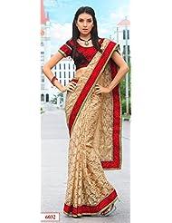 Beige Party Wear Net Brasso Sari Embroidery Border Work Party Wear Sari
