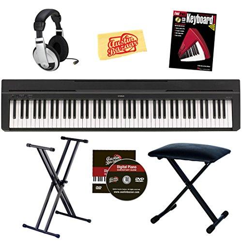 Yamaha P-35 Digital Piano Bundle With Gearlux Double-Braced Stand, Gearlux Padded Bench, Samson Headphones, Hal Leonard Instructional Book, Austin Bazaar Instructional Dvd, And Austin Bazaar Polishing Cloth - Black