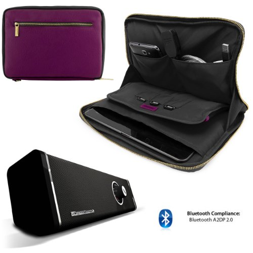 Click to buy Irista Carrying Leather Sleeve (Purple, Black) For Asus MeMo Pad FHD 10, 10 LTE 10.1-inch Tablet + 10hr Bluetooth Speaker Boombox with Sub - From only $115.98