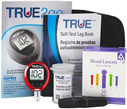 True2go Diabetic Testing Travel Kit, 50 Strips. Includes; True2go Meter with Deluxe Carry Case/Pouch, 50 TrueTest Strips, 50 Count Ultra Thin Lancets, Mini Lancing Device, Owner's Booklet & Log Book