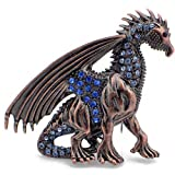 Sapphire Vintage Style REPRO Austrian Crystal Flying Dragon Pin Brooch