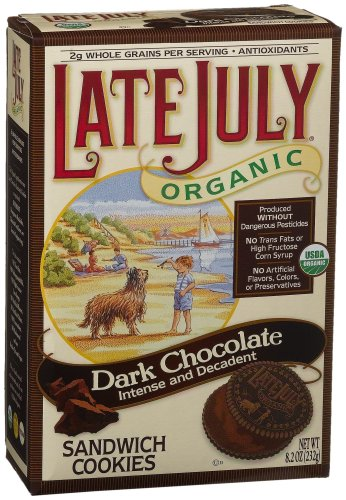 Late July Organic Dark Chocolate Sandwich Cookies,  8.2-Ounce Boxes (Pack of 6)