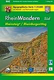 RheinWandern Süd (WR): Topographische Karte 1:25000 mit Wander- und Radwanderwegen mit dem Rheinsteig von Wiesbaden bis Koblenz und dem RheinBurgenWeg von Bingen bis Koblenz