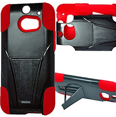myLife Fire Engine Red + Black {Layered Design} Two Piece Hybrid (Shockproof Kickstand) Case for the All-New HTC One M8 Android Smartphone - AKA, 2nd Gen HTC One (External Hard Fit Armor With Built in Kick Stand + Internal Soft Silicone Rubberized Flex Gel Full Body Bumper Guard)