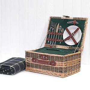 picknickkorb landhausstil f r 2 personen rattan inkl. Black Bedroom Furniture Sets. Home Design Ideas