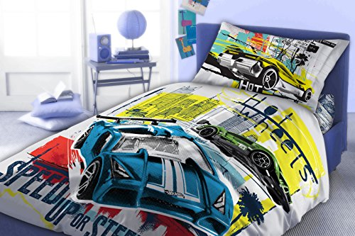 Maxi & Mini HOT WHEELS-PARURE di biancheria da letto con copripiumone da 160 x 200 cm, federa 70 x 80, idea decorativa