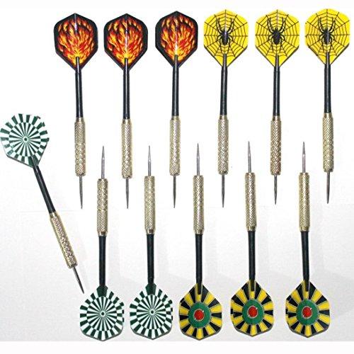 QMQ 12 pezzi, 4 Styles punta in acciaio inossidabile, freccette, 18 g