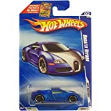 Hot Wheels 2010-160 Blue Bugatti Veyron Hot Auction 1:64 Scale (Color: Blue, Tamaño: 1:64 Scale ~ 3