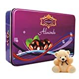 Skylofts Big Rectangular Chocolate Coated Almonds Tin With A Cute Teddy - B01ADK1RNK