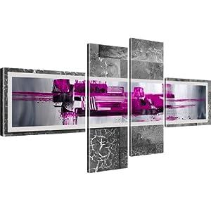 kunstdruck abstraktion stadt wandbild auf leinwand 4 teilig 130x60 cm lila k che. Black Bedroom Furniture Sets. Home Design Ideas