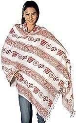 Exotic India Om Prayer Shawl - Multi-Coloured