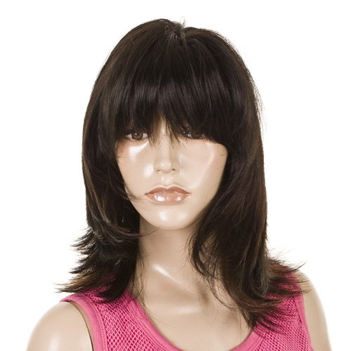 Face Framing Fashion Wig | Brunette & Copper Highlights | Heat Style-able hair-like fibre