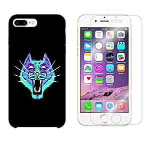 Snoogg Neon Cat Combo Designer Protective Back & Shatter Proof Tempered Glass For APPLE IPHONE 7 PLUS