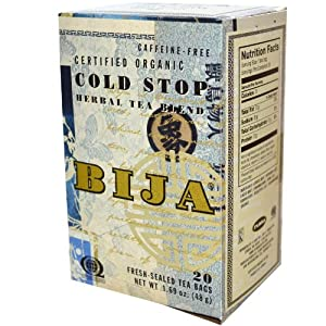 Flora - Bija Cold Stop Herbal Tea Certified Organic Caffeine Free - 20 Tea Bags