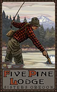Northwest Art Mall Five Pines Lodge Oregon Fisherman Painting by Paul A Lanquist, 11-Inch by 17-Inch