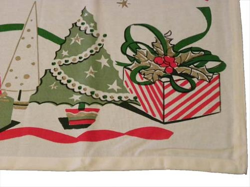 Vintage Reproduction Gifts &#038; Stars Christmas Tablecloth