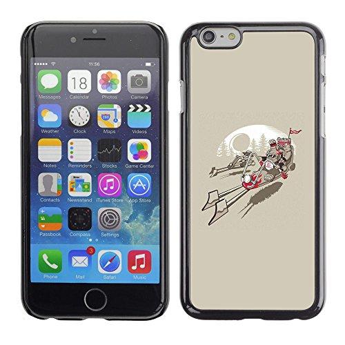 """Custodia rigida a scatto Design-Cover rigida in pelle per Apple iPhone 6 Plus/6S 11,94 cm (4,7"""")-Giacca a vento Ewok A, da uomo, motivo: Star Wars"""