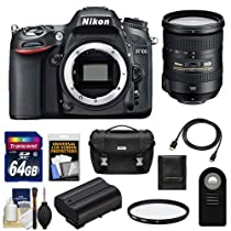 Nikon D7100 Digital SLR Camera Body with 18-200mm VR Lens + 64GB Card + Battery + Case + Remote + Filter + Accessory Kit