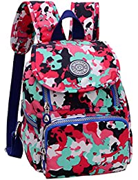 Magideal Women Camouflage Backpack Waterproof Nylon Casual Sport Travel Bags Red