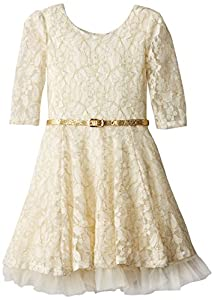 Beautees Little Girls' Long Sleeve Solid Lace Dress, Ivory, 5