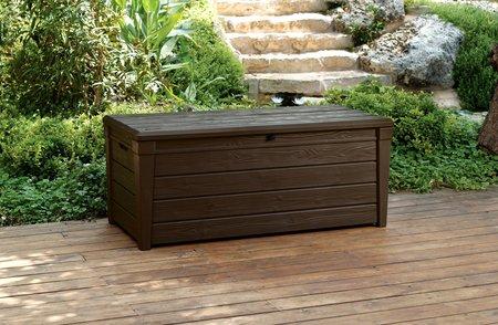 Saxon - Banco de almacenamiento para jardín (454 l, resina, se puede cerrar con llave, impermeable)